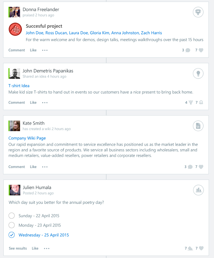 Social activities in SharePoint using Beezy