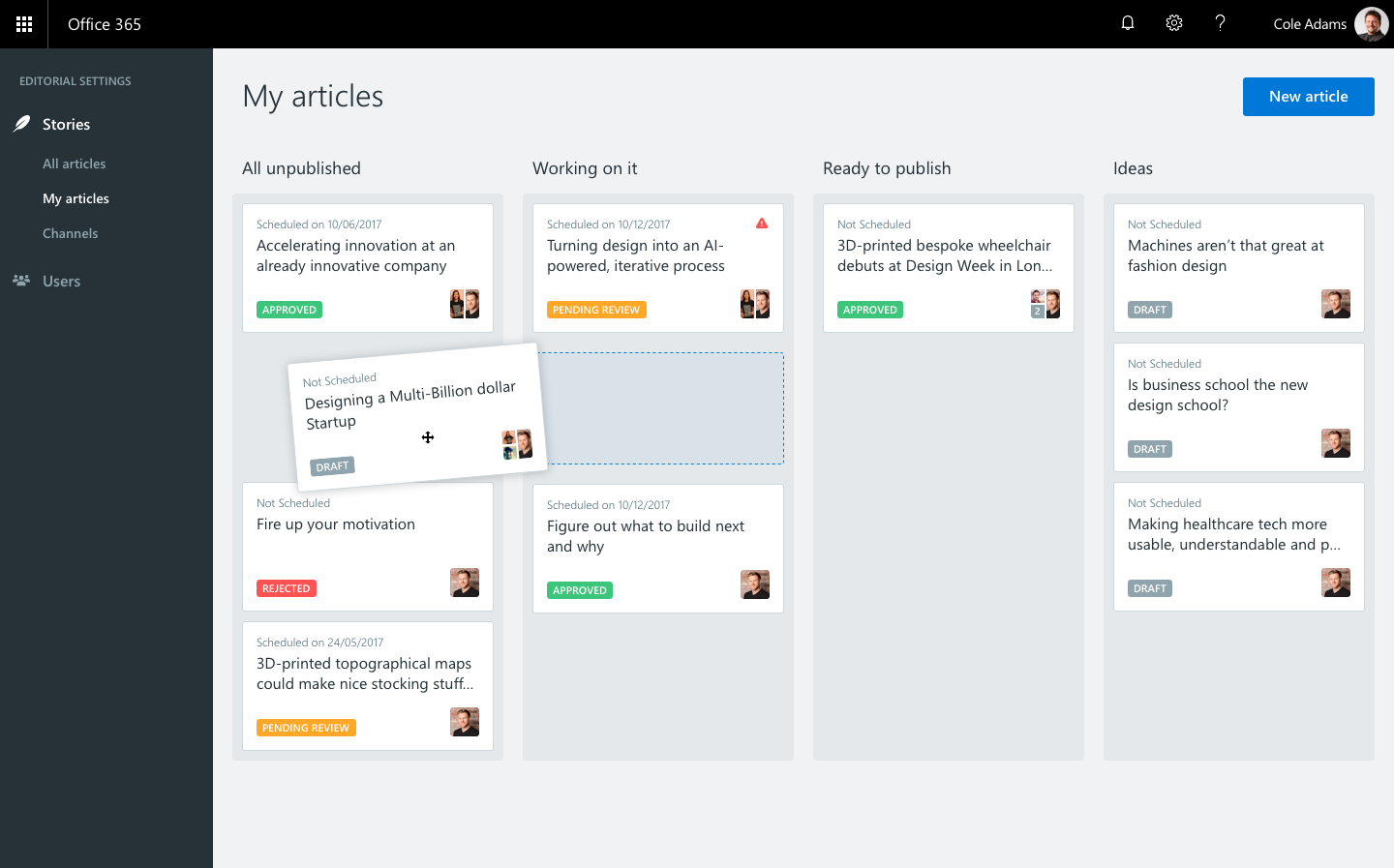 Beezy as your CMS - Stories Kanban Board