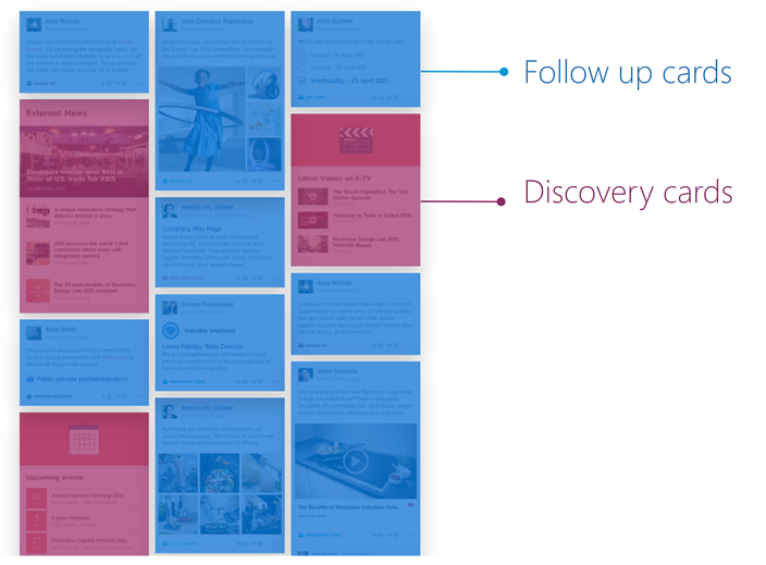 Beezy Newsfeed with Follow-up and Discovery cards